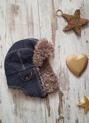 Теплая зимняя шапка ушанка с мехом джинсовая