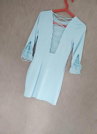 Бирюзовое платье со шнуровкой