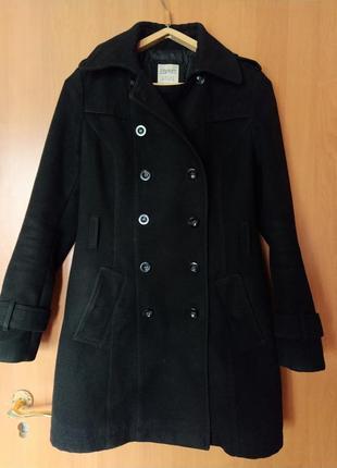 Черное женское зимнее осеннее пальто тренч