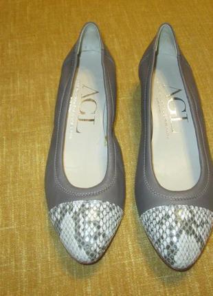 Кожаные туфли agl оригинал лодочки балетки италия