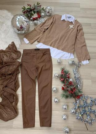 Комплект карамельный беж свитер зара с брошью блуза штаны и шарф рм-ль
