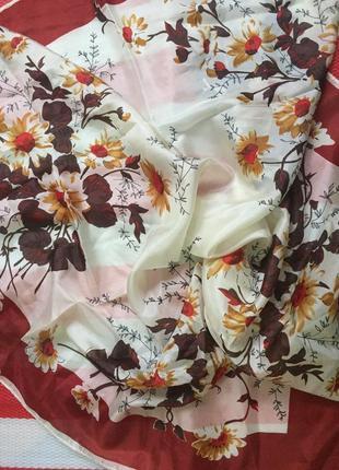 Красивый шелковый платок,палантин linea /цветочный принт