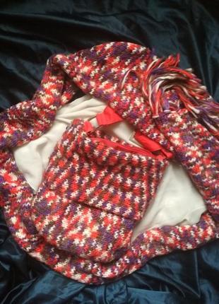 Комплект  набор сумка и большой шарф вязаннык