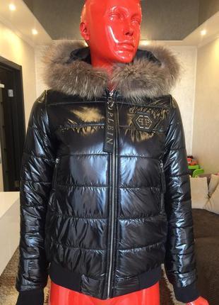 Зимняя куртка короткий пуховик парка натуральный мех филлип плейн