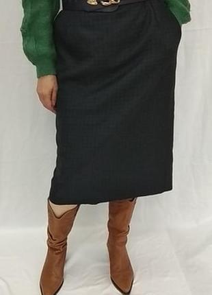 Винтажная , шерстяная  юбка - миди  в клетку , с карманами  . blaggini .