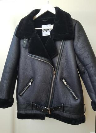 Куртка косуха дубленка авиатор в байкерском стиле zara3 фото
