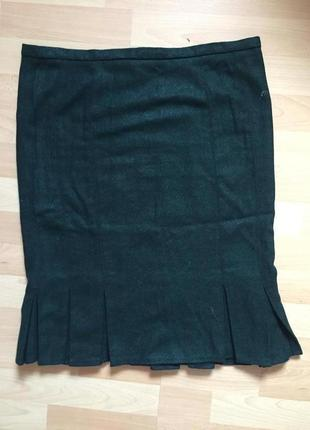 Шерстяная изумрудная юбка topshop