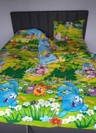 Детский комплект постельного белья полуторный смешарики
