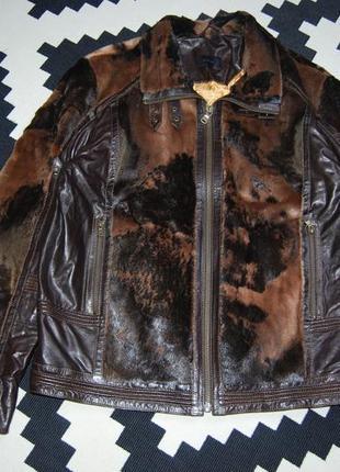 Мужская демисезонная кожаная с натуральными меховыми вставками