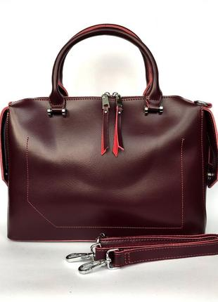 """Женская кожаная сумка """"sheen"""" бордовая"""