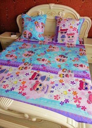 Детский комплект постельного белья полуторный с куклами лол