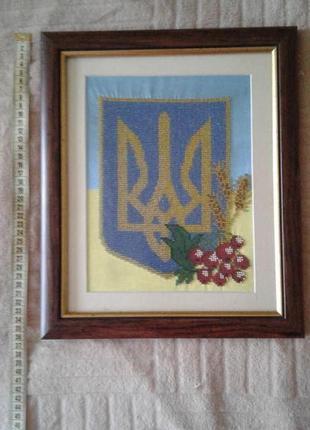 Картина из бисера герб украины