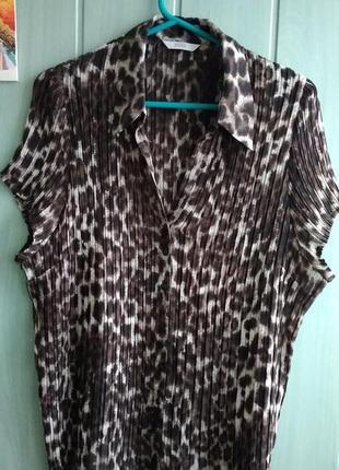 Плиссированная блуза анималистической расцветки большого размера 24uk