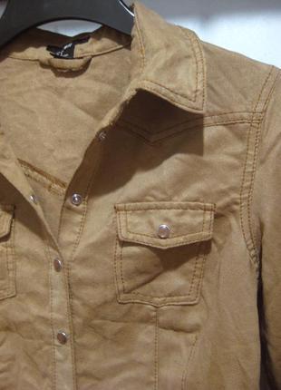 Рубашка h&m замш замшевая коричневая бежевая