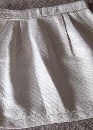 Юбка мини la petite francaise paris белая короткая фасон тюльпан колокольчик люрекс