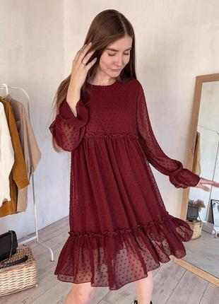 Романтичное шифоновое платье с рюшами, есть цвета