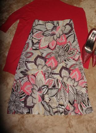 Красивая яркая юбка а- силуэта трапеция classic m&s из вискозы