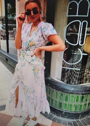 Шифоновое миди платье zara в цветочный принт eur xxl ( на 16 размер)