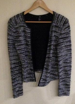 Супер стильный пиджак, кардиган . h&m c  кожаными вставками . жакет