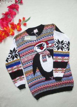 Суперовый новогодний свитер с пингвином в норвежский орнамент gazelle.