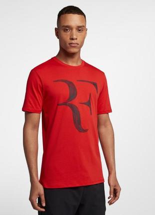 Крутейшая теннисная футболка nike rf court cotton tee red