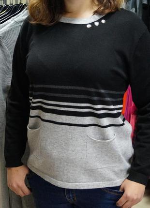Стильный свитер с карманами , очень теплый италия фабричная