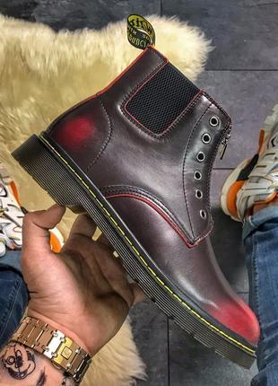 Мужские dr martens gusset red.стильные бардовые сапоги/ботинки мартинс, осень/весна