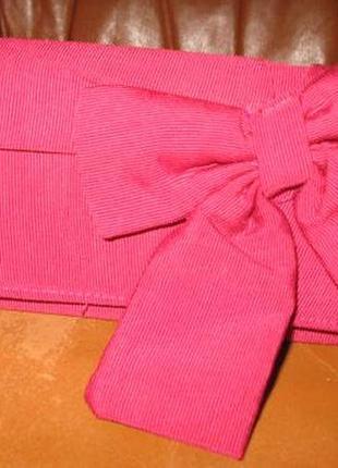 Яскравий рожевий клатч бантик next на кнопочку
