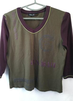 Футболка блузка marc cain комбинированная с принтом