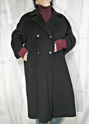 Трендовое двубортное пальто, 95% шерсть+кашемир, оверсайз