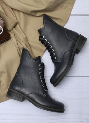 Женские кожаные зимние синие ботинки со змейкой и шнурком низкий каблук натуральная кожа