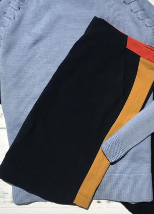 Темно-синяя юбка с оранжевыми лампасами la redoute❤️