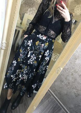 Юбка миди в цветы