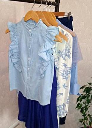 Милейшая джинсовая блуза/рубашка с рюшами denim co