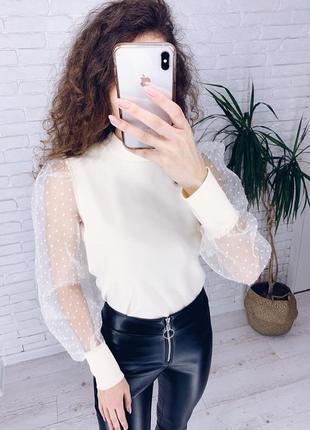 Невероятно красивая кофта блуза с прозрачными рукавами
