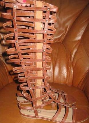 Коричневі босоніжки римлянки no doubt р40 еко шкіра