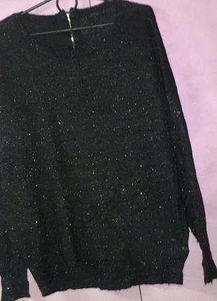 Темно серый свитер свитшот с серебряной нитью
