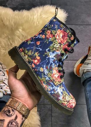 🏵️похожи на dr martens blue flower🏵️стильные осенние/весенние женские сапоги/ботинки