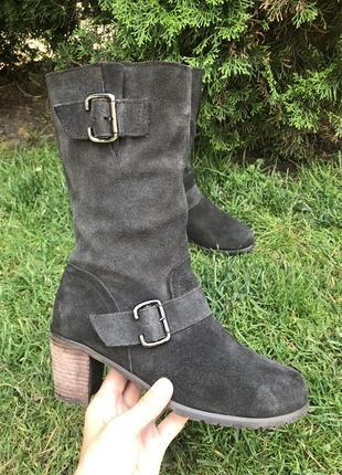 Демисезонные кожаные сапоги, ботинки как gabor 38 натуральная замша