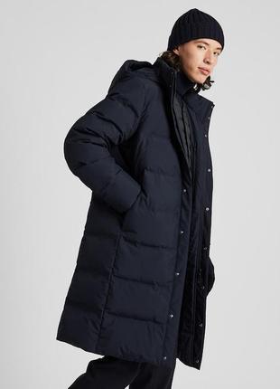 Длинное мужское пальто -пуховик