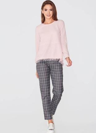 Розовый удлинённый свитшот свитер с фатином s 44
