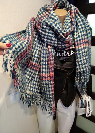 Мягусенький теплый брэндовый палантин шарф в стильную клетку