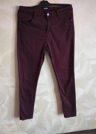 Классные бордовые джинсы,скины высокая талия jennyfer