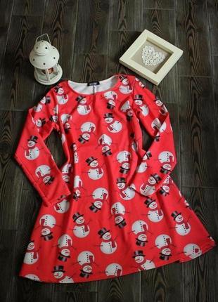 Новогоднее платье туника с рождественским принтом