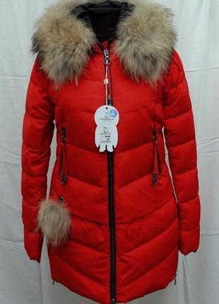 Зимний новый красный пуховик натуральный мех енота fine baby cat