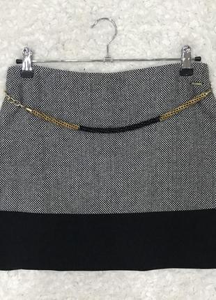 Серая шерстяная твидовая юбка трапеция