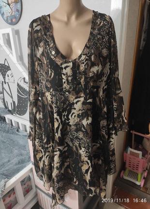Красивенное шифоновое платье-туника на подкладке от шведского бренда cellbes. пог-55