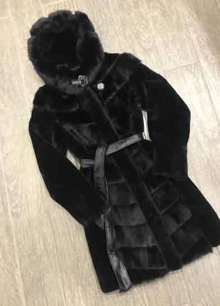 Шуба мутон норка тёплая зима зимняя натуральная куртка пуховик парка