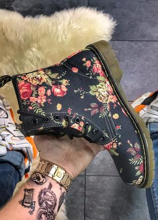 Женские ботинки black flower, как dr martens, осенние/весенние сапоги