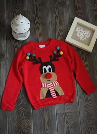 Вязаный новогодний свитер с рождественским принтом